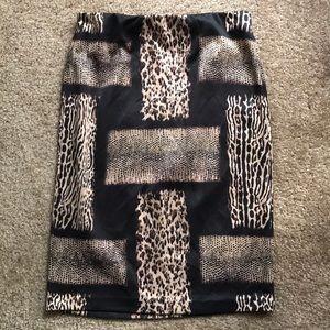 Carmen Marc Valvo Leopard Print Skirt